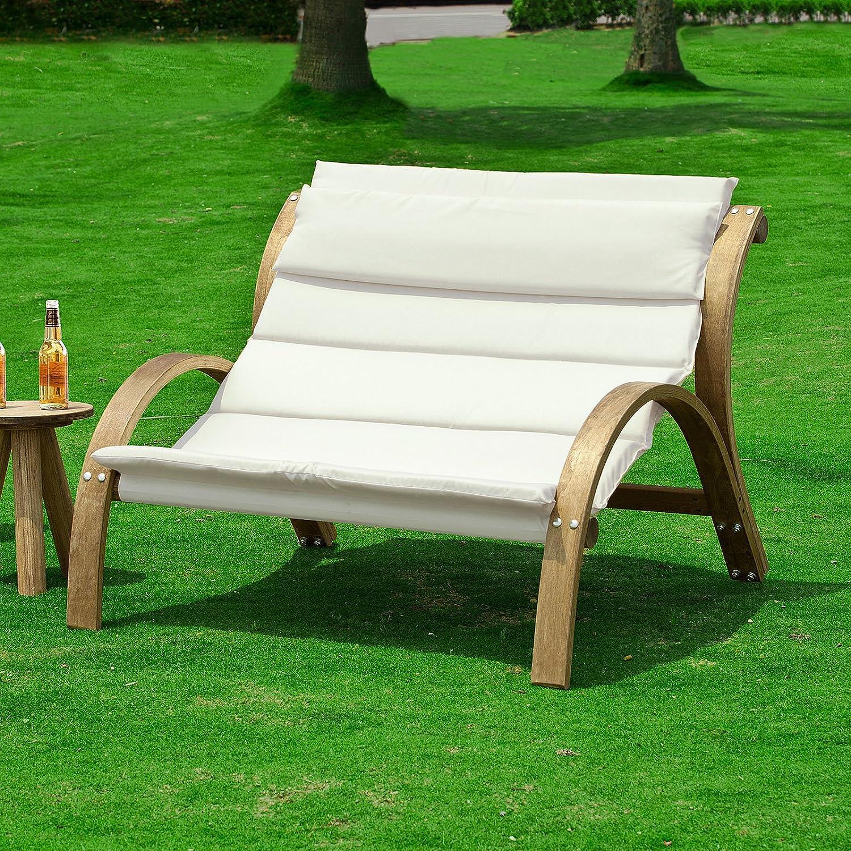 SoBuy Loungestuhl,2-Sitzer, Gartenstuhl, Loungesessel, Relaxstuhl, Relaxsessel,OGS24-L-W günstig
