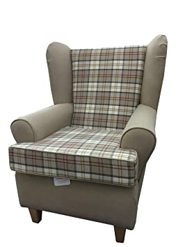 Biscuit Tartan 2 Tone Fabric Queen Anne With a Deep Base design...wing back fireside high back chair. Ideal bedroom or living room furniture