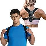 Posture Corrector Brace for Men and Women Kyphosis Back Shoulder Support by FitTek (Color: Black, Tamaño: one size)