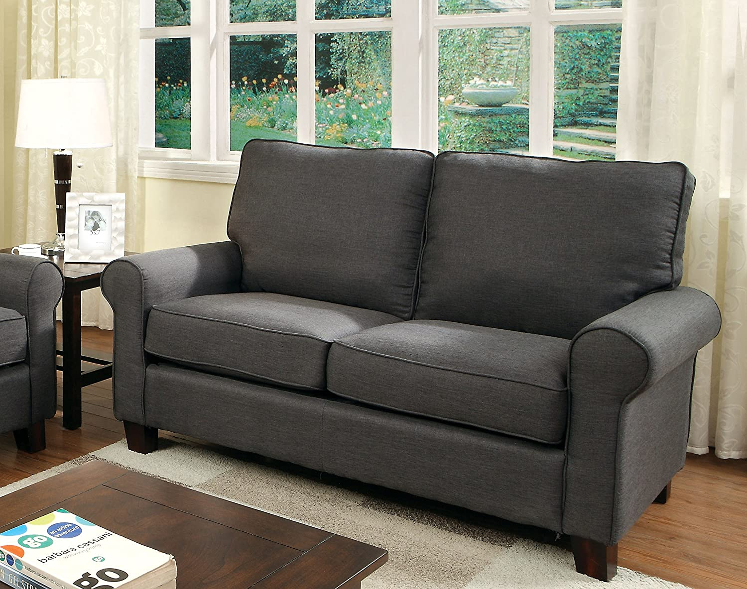 Furniture of America Levine Classic Love Seat - Gray
