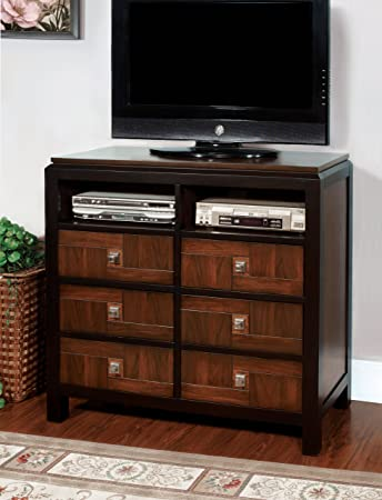 Furniture of America Cleo TV Console with Storage Drawer, Acacia Finish