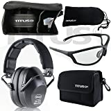 TITUS Earmuff/Glasses Combo – B2 Low-Profile Muffs & G Series Safety Glasses - Ear+Eye Protection Bundle (EarMuffs, Glasses, and Carrying Case) - Personal Safety (Color: G26 Clear w/ Competition Frame, Tamaño: Black - Slim)