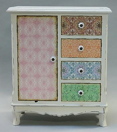 Mueble con puerta y cuatro cajones de un armario de estilo shabby chic de registro de colour blanco y multicolour, diseño de nueva