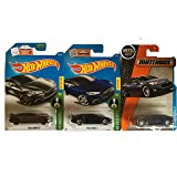 Hot Wheels 2016 Blue & Dark Grey with Matchbox Blue Tesla Model S 3-Car Set (Color: Black, Yellow)