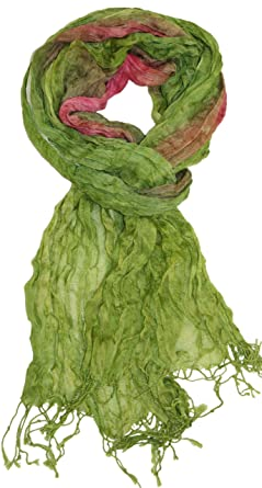 LibbySue-Impressionist Watercolor Crinkle Scarf in Apple Green