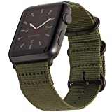 Apple Watch Band 38mm Nylon- Olive Green NATO iWatch Wrist Strap, Rugged Woven Canvas with Durable Matte GRAY Buckle Clasp & Adapters for New Apple Watch Series 3, 2, 1 by Carterjett (38 Army Green) (Color: Olive Nylon w/ Gray hardware, Tamaño: 38mm S/M/L (5
