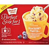 Duncan Hines Perfect Size for 1 Breakfast Muffin & Cake Mix, Ready in About a Minute, Blueberry Muffin, 4 Individual Pouches