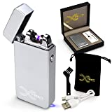 2018 Deal Eternity Lighters Flameless Electronic Rechargeable Windproof Premium Survival or Candle Lighter with Dual Arc, USB Cord, Brush, and Bag in Gift Box (Color: Silver Matte)