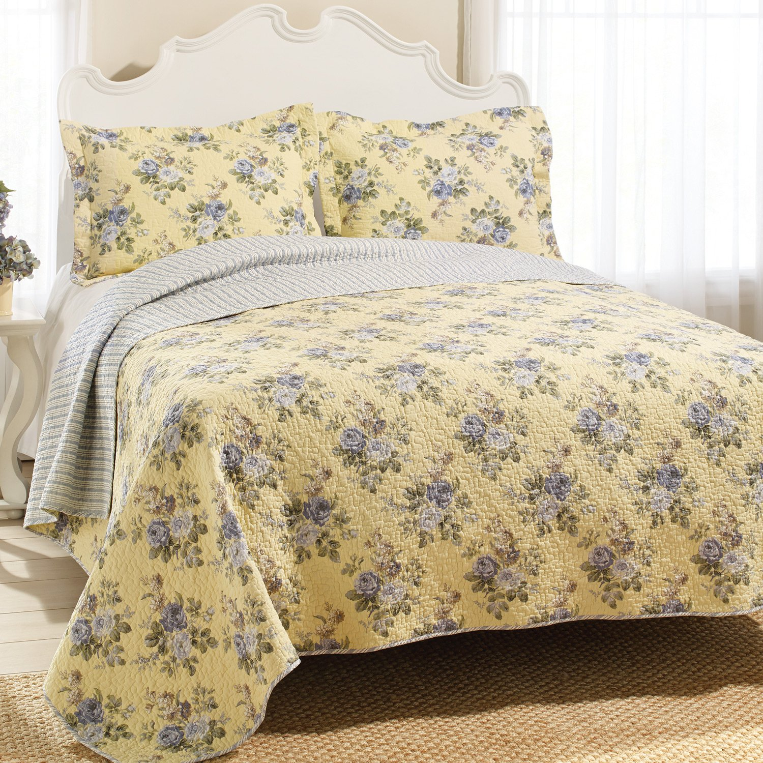 Laura Ashley Full Queen Size Quilt Set Linley Floral