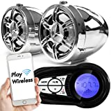 "GoldenHawk 3"" Waterproof Bluetooth Wireless Motorcycle Stereo Speakers 7/8 - 1.25 in. Handlebar Mount MP3 Music Player Sound Audio System Scooter ATV UTV w/ USB Charging, SD Card, FM Radio, Amplifier"