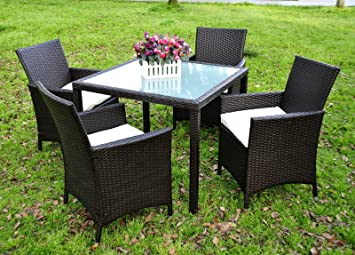 Evre LA 4 Seater Outdoor Dining Set - Glass Table Top - Durable Rattan - Black