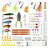 RUNCL Fishing Baits Tackle, Fishing Lures Tackle with Crankbaits, Spinnerbaits, Frogs, Worms, Jigs, Topwater Lures, Tackle Box and More Fishing Lures Kit for Saltwater Freshwater Bass Trout Salmon (Color: 100pcs fishing lure set, Tamaño: N/A8.46 x 4.33 x 1.77 inches)