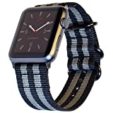 Carterjett Compatible Apple Watch Nylon Band 42mm iWatch Band Replacement Strap Durable Woven Canvas Stripe NATO Hardware Compatible Apple Watch Sport, Nike Series 1 2 3, 42 S/M/L Space Gray/Black (Color: Gray+Black w/ Space Black hardware, Tamaño: 42mm S/M/L (5.7