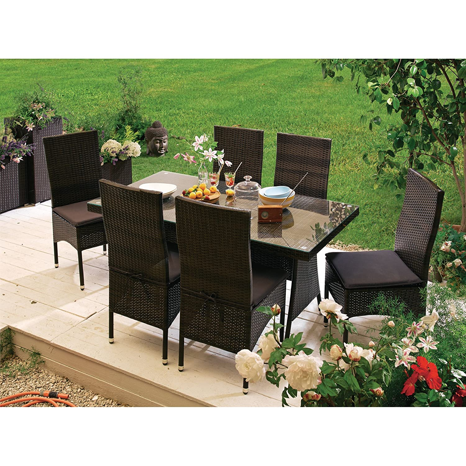 gartenm belset aus rattan mit auflagen 13 tlg tisch ca l150xb80xh74cm stuhl ca. Black Bedroom Furniture Sets. Home Design Ideas