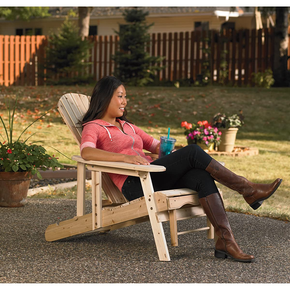 Adjustable Unfinished Cedar/Fir Adirondack Chair With Pull-Out Footrest