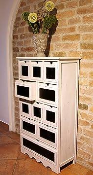 condecoro Kommode im Shabby- Vintage Look 11 Schubladen Schrank Sideboard