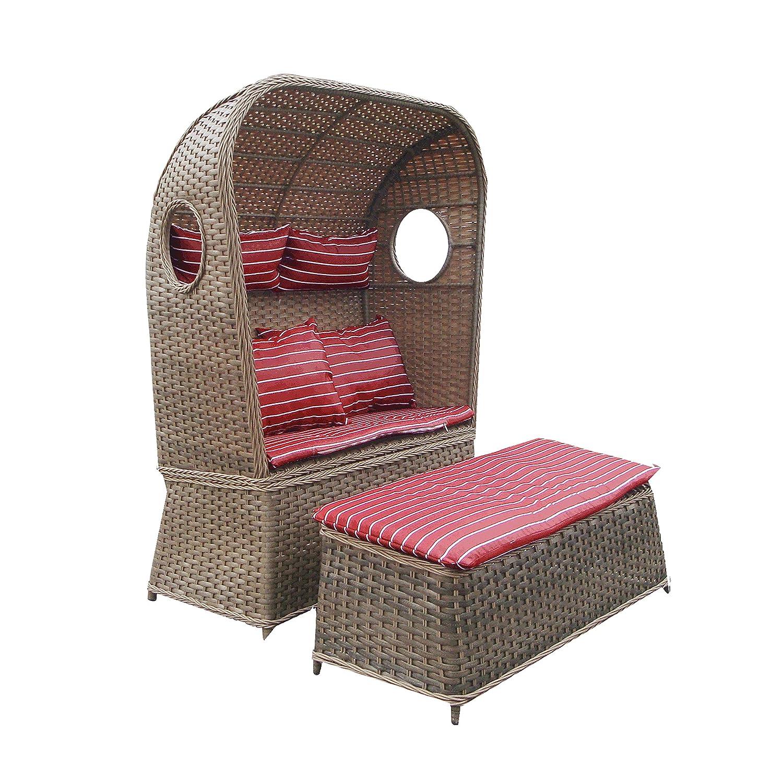 Strandkorb NOSTALGIE 2-Sitzer Korb mit Fußbank und Auflage rot, LILIMO ®