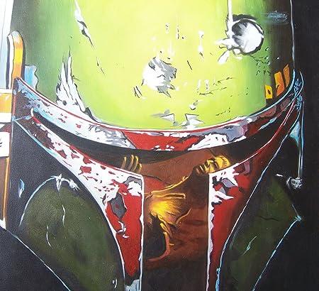 Boba Fett Star Wars 30 x 30 de pintura al óleo pintado a mano de arte, no es un Giclée, o Póster de cuadro. Este es un diseño de flores de arte basado en la carcasa consolas de! Pinceladas y la textura de la son evidentes y se