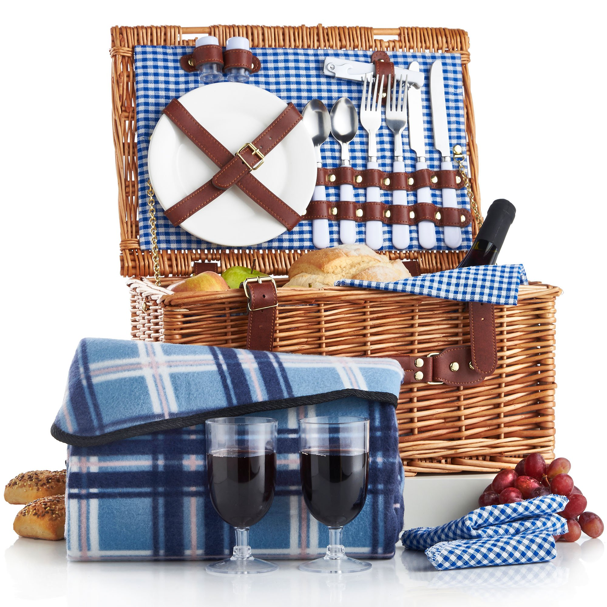 Best Picnic Basket For 2 : Vonshef deluxe person traditional wicker picnic basket
