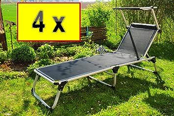 4x Premium Mendler con toldo, 4x Tumbona plegable-extremadamente resistente a la intemperie, portátil, 4playa Liegen, de gran calidad cómodo y estable, superficie aprox. 195x 62cm, tela de aluminio,