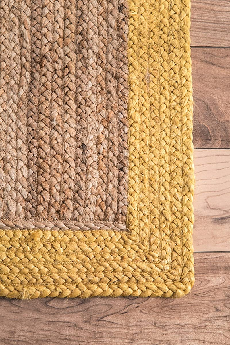 nuLOOM Natural Fibers Border Jute Area Rugs, 4 x 6, Gold
