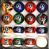 Pool Table Billiard Ball Set, Dark Color Marble Swirl (Color: Dark Color Marble Swirl, Tamaño: 2 1/4