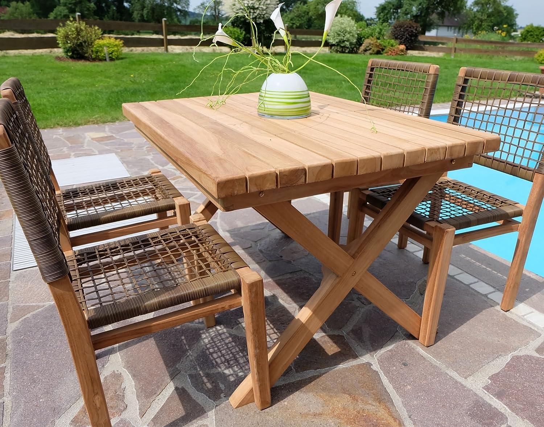 Rustikale Super Edle TEAK Gartengarnitur Gartenset Gartenmöbel TISCH + 4 Sessel 'RIO' Holz geölt von AS-S günstig
