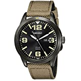 Seiko Men's SNE331 Sport Solar Black Stainless Steel Watch with Beige Nylon Band (Color: Beige)