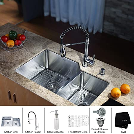Kraus KHU123-32-KPF1612-KSD30CH 32 inch Undermount Double Bowl Stainless Steel Kitchen Sink with Chrome Kitchen Faucet and Soap Dispenser