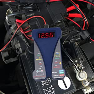 MOTOPOWER MP0514B 12V Digital Battery Tester Voltmeter and Charging System Analyzer with LCD Display and LED Indication - Blue Rubber Paint (Color: b) - Blue Version)
