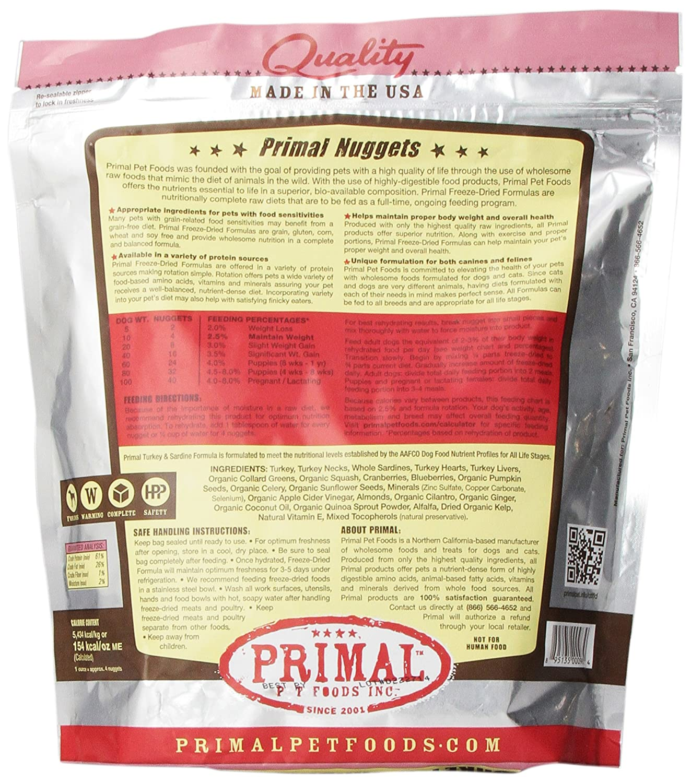Primal Pet Foods Freeze Dried Canine Turkey And Sardine Formula