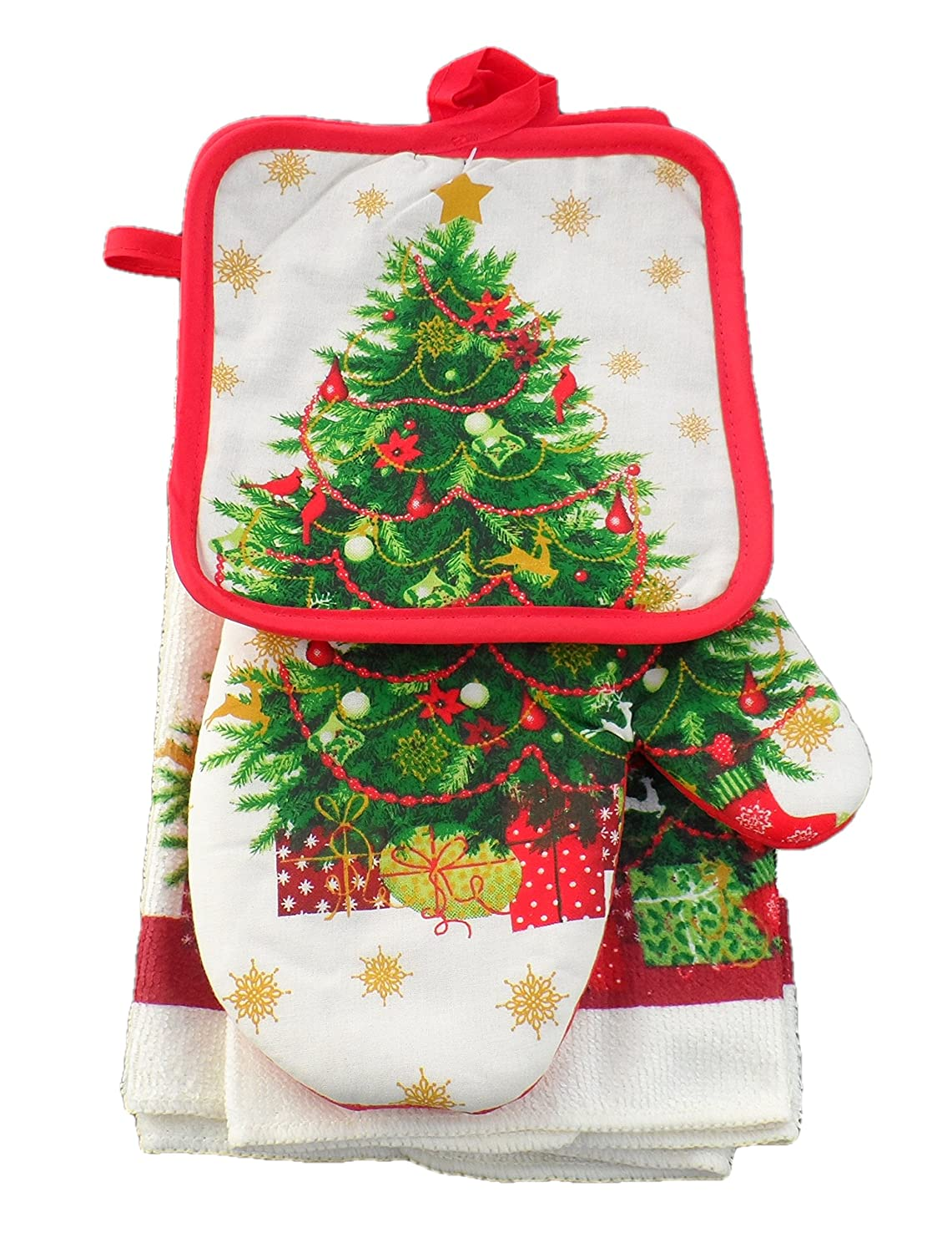 Christmas Trees Kitchen Towel Oven Mitt Sets Christmas Wikii