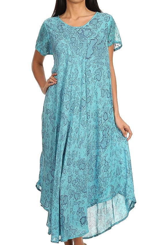 Sakkas Lila Freckled Dyed Cap Sleeve Scoopneck Long Caftan Dress Cover Up