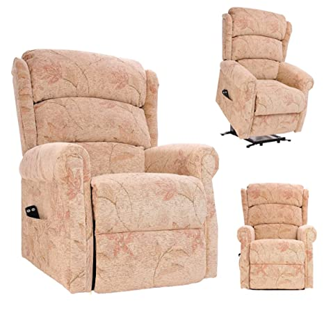 The Newbury - Riser Recliner / Lift & Tilt Chair in Beige Fabric with Waterfall style Back