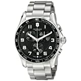 Victorinox Men's 'Chrono Classic' Swiss Quartz Stainless Steel Casual Watch, Color:Silver-Toned (Model: 241650) (Color: Black/Stainless, Tamaño: 45MM)