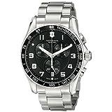 Victorinox Men's 241650 Chrono Classic Analog Display Swiss Quartz Silver Watch (Color: Black/Stainless, Tamaño: 45MM)