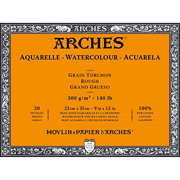 Arches Watercolor Paper Block, Rough, 9 x 12, 140 pound (Tamaño: 9x12)
