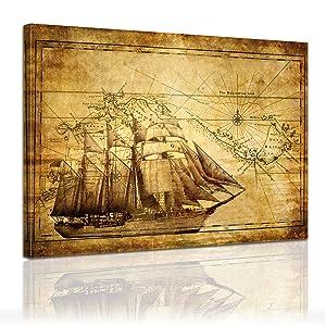 Bilderdepot24 Bild auf Leinwand Schiffsfahrt Vintage 120x90cm  fertig gerahmt, direkt vom Hersteller    Überprüfung und weitere Informationen
