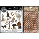 Tim Holtz Sizzix Thinlits 2019 Halloween Dies - Frightful Things and Tim Holtz Idea-Ology Halloween Deco Sheets - 2 Items