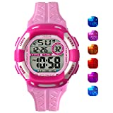 Kids Watch Grils Digital 7-Color Flashing Light Water Resistant 100FT Alarm Watch for Age 4-10 (Pink) (Color: PINK)