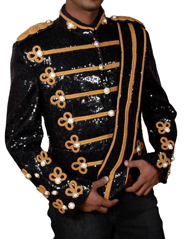 HLS Michael Jackson Black Sequins 1984 Military Jacket günstig bestellen
