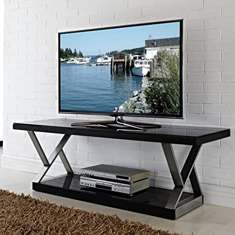 Antiqued Frame Black Glass 60-inch TV Stand