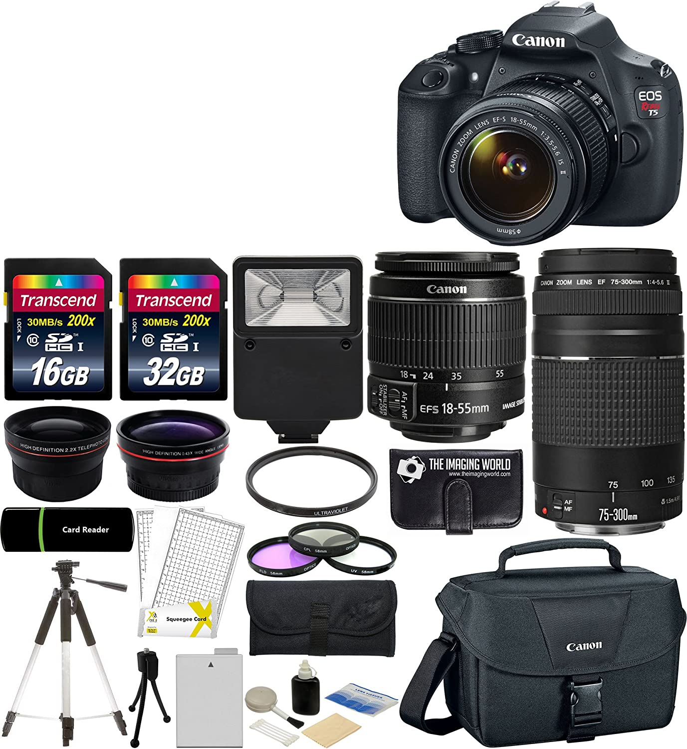 Canon EOS Rebel T5 18MP EF-S Digital SLR Camera USA warranty with canon EF-S 18-55mm f/3.5-5.6 IS II Zoom Lens & EF 75 ...