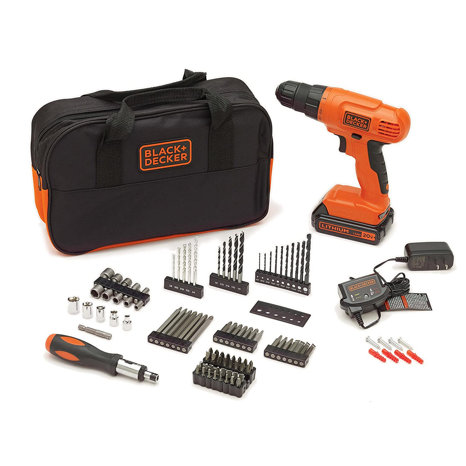 holiday gift idea 55 off black decker 20 volt max lithium ion drill kit today only. Black Bedroom Furniture Sets. Home Design Ideas
