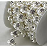 AEAOA 5 Yards 20mm Ivory Flower Pearl Rhinestone Chain Sew On Trims Wedding Dress Decoration (LZ112) (Color: Ivory, Tamaño: LZ112)