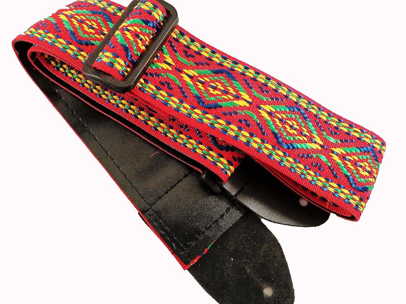 Red Retro Vintage Hippie Acoustic Electric Guitar Strap Faux Leather Ends 60's 0