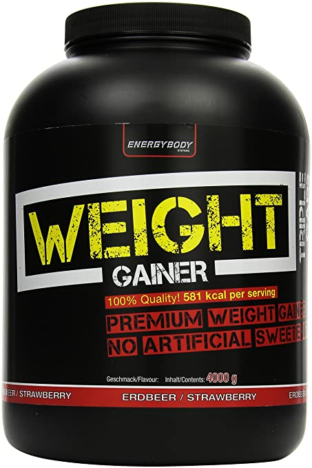 Energybody XXL WEIGHT GAINER 4000 Erdbeer, 1er Pack (1 x 4 kg)