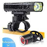 BrightRoad - The Original LED Bicycle Rechargeable Light Set | 800 Lumens for a Brighter Bike Light | Wide & Long Cover Range - 85° & 650ft | IPX6 Waterproof | Plus Upgraded Tail Light | Bike Lights (Color: black - FULL SET: USB front+ USB tail light)