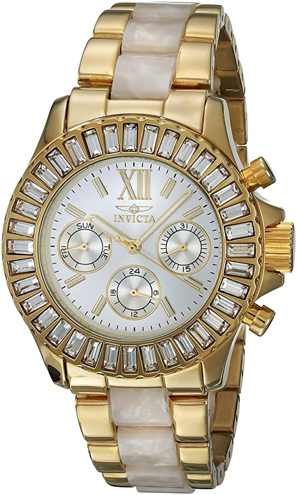 Invicta Women's 17491 Angel Analog Display Swiss Quartz Two Tone Watch (Color: silver)