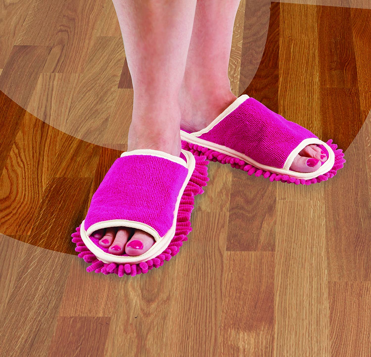 Slipper Genie Microfiber Cleaning Slippers Pink New